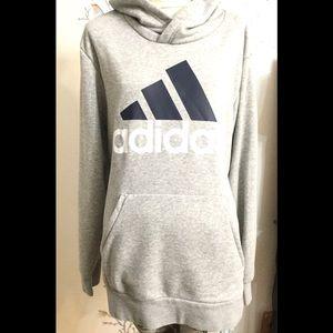 Adidas Gray Hood Sweater with Blue Logo Sz. L